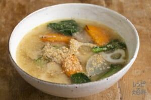 焼き根菜と小松菜のごま汁