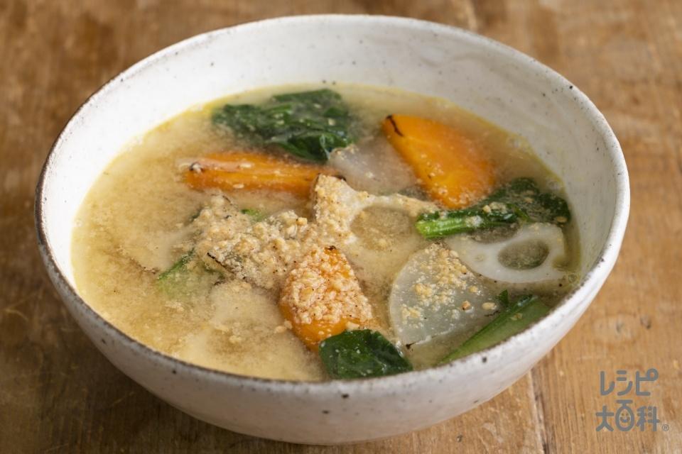 焼き根菜と小松菜のごま汁(れんこん+大根を使ったレシピ)