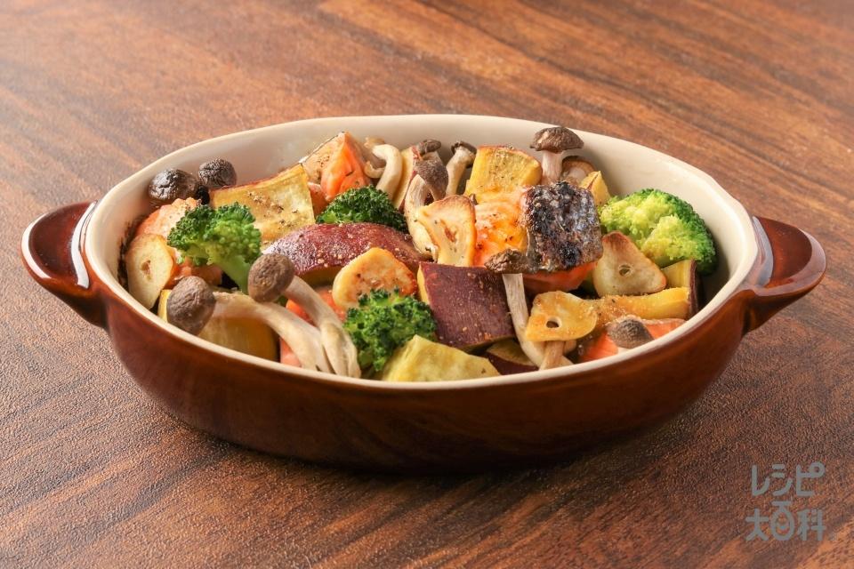 さつまいもと鮭のガリバタオーブン焼き(銀ざけ+さつまいもを使ったレシピ)