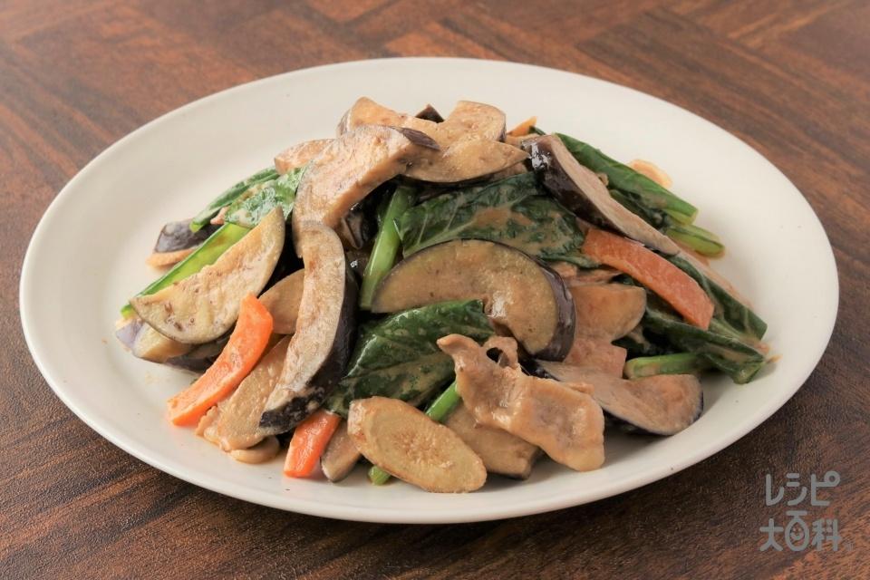 なすとごぼうと豚バラのオイマヨ炒め(豚バラ薄切り肉+なすを使ったレシピ)