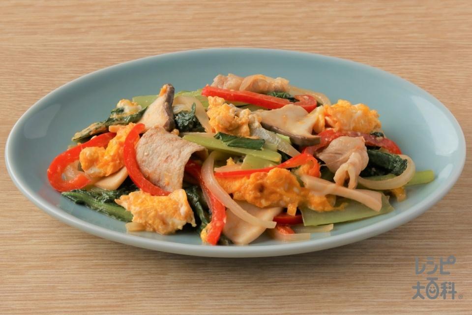 豚肉と小松菜のオーロラ炒め(豚ロースしゃぶしゃぶ肉+小松菜を使ったレシピ)
