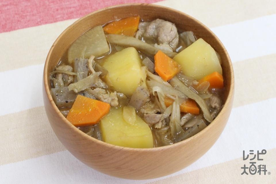ぽかぽか生姜みそ豚汁(豚こま切れ肉+じゃがいも(小)を使ったレシピ)