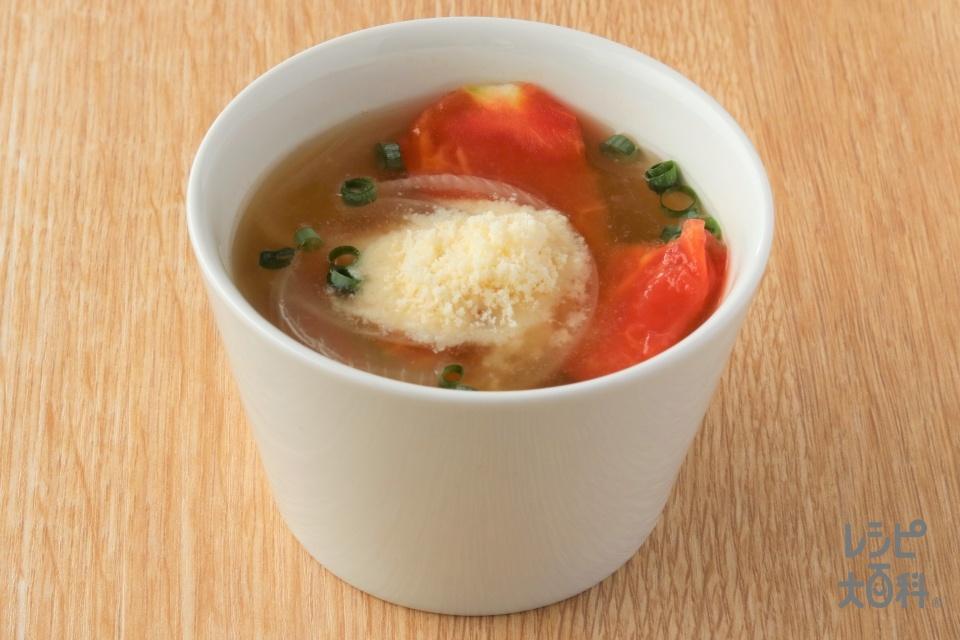 玉ねぎとトマトのみそスープ(トマト+玉ねぎ(小)を使ったレシピ)