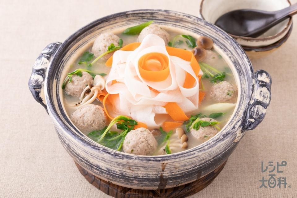 ひらひら大根と肉団子鍋(豚ひき肉+大根を使ったレシピ)