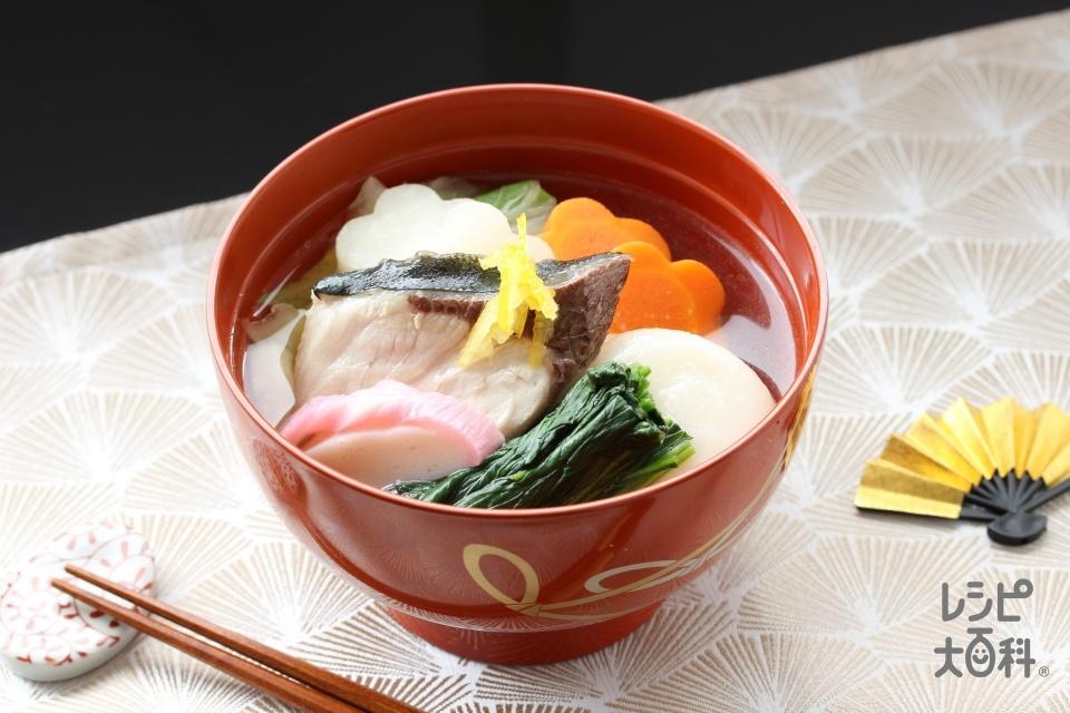 岡山風お雑煮(ぶり(切り身)+丸餅を使ったレシピ)