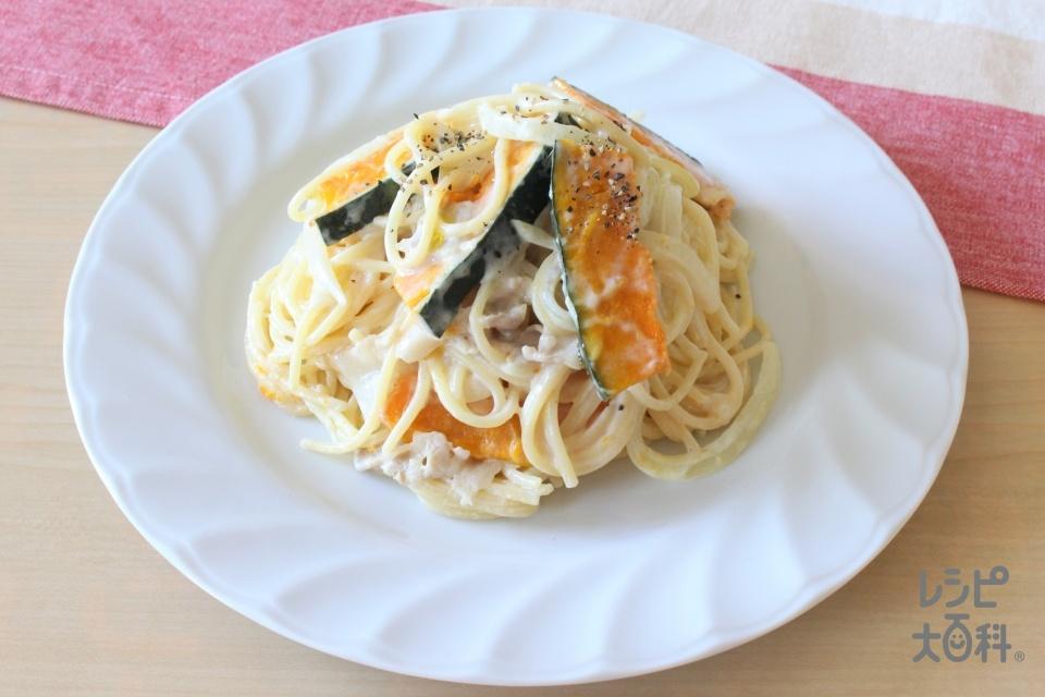 かぼちゃと豚肉のクリームパスタ(スパゲッティ+豚バラ薄切り肉を使ったレシピ)