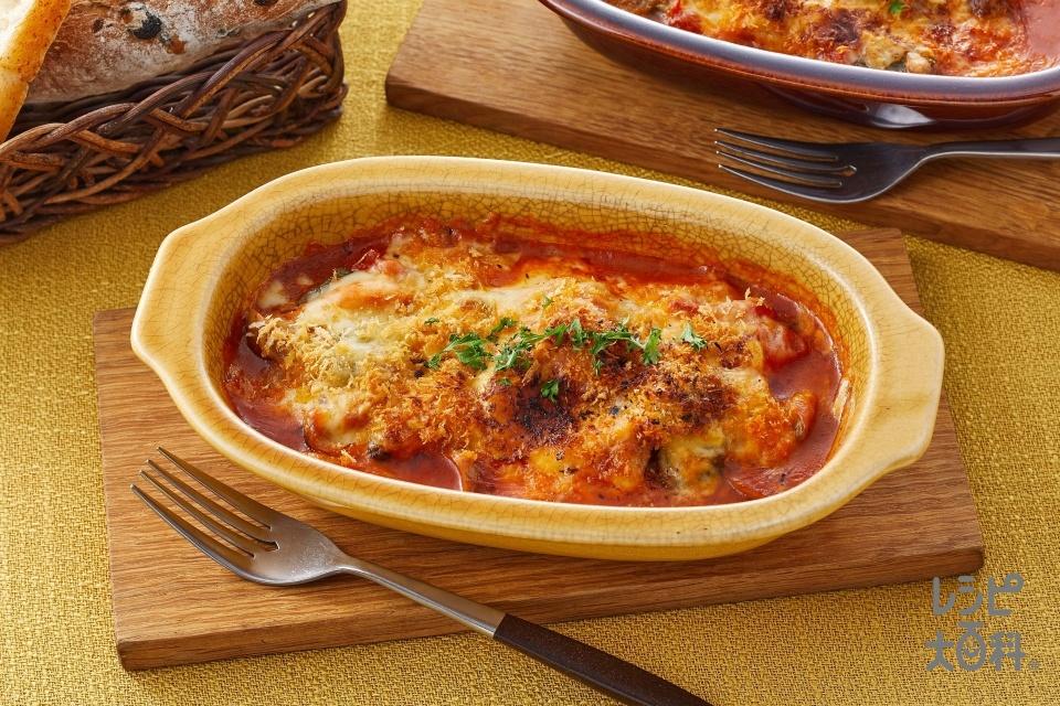 鶏肉のトマトクリームのチーズ焼き(鶏もも肉+トマトを使ったレシピ)