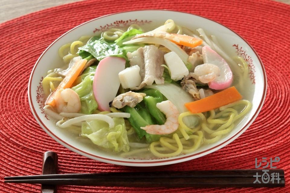 長崎風ちゃんぽん(中華生めん+豚バラ薄切り肉を使ったレシピ)