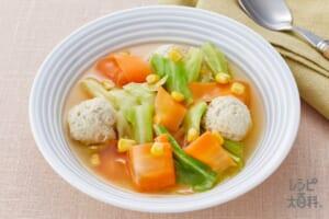 鶏団子とひらひら人参のスープ野菜<塩分控えめ>