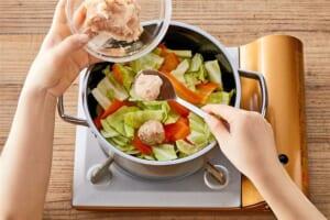 鶏団子とひらひら人参のスープ野菜<塩分控えめ>の作り方_1_1