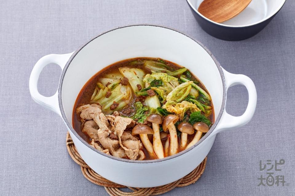 麻辣火鍋(豚ロースしゃぶしゃぶ肉+白菜を使ったレシピ)