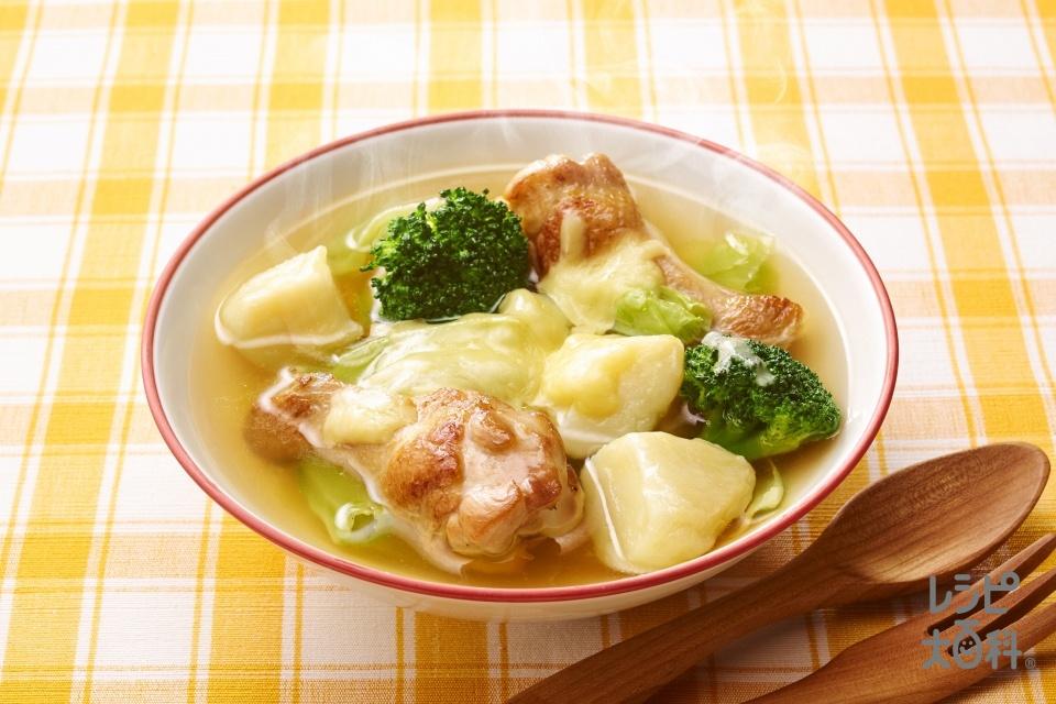 チーズとろ~り 鶏じゃがスープ野菜(鶏手羽元+じゃがいもを使ったレシピ)