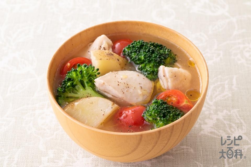 鶏肉とブロッコリーのイタリアン風みそ汁(鶏もも肉+ブロッコリーを使ったレシピ)