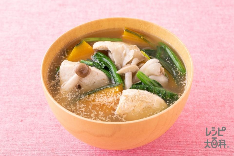 鶏むね肉とかぼちゃのごまみそ汁(鶏むね肉(皮なし)+かぼちゃを使ったレシピ)
