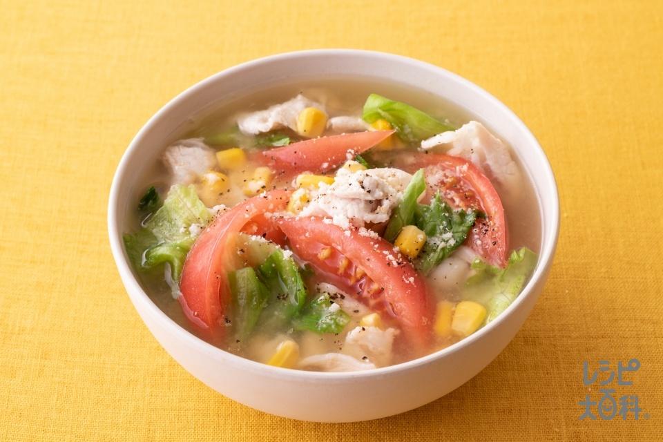 豚しゃぶのサラダみそ汁(豚しゃぶしゃぶ用肉+トマトを使ったレシピ)
