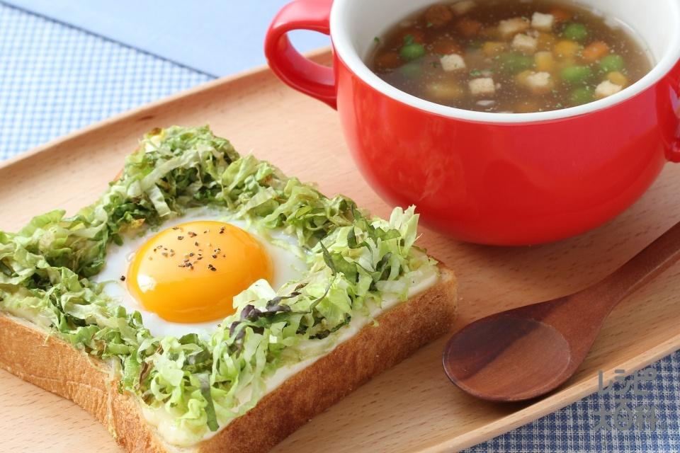 キャベツマヨたまトーストの洋食プレート(食パン6枚切り+卵を使ったレシピ)