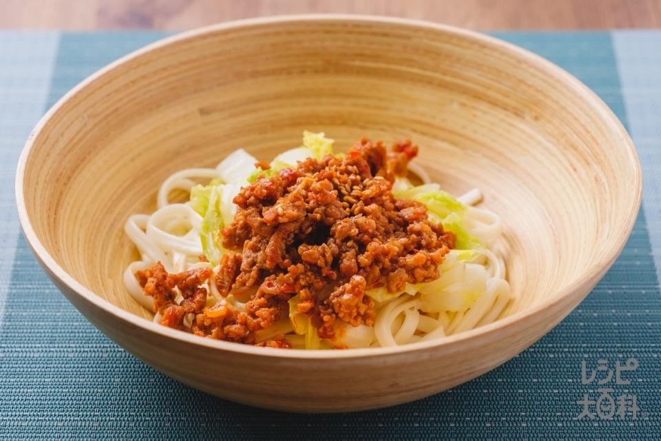 肉味噌と白菜のピリ辛和え麺