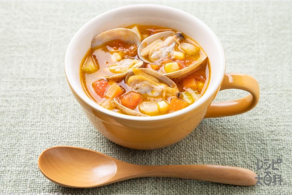 野菜とあさりのコンソメスープ(あさり(殻つき)+トマトを使ったレシピ)