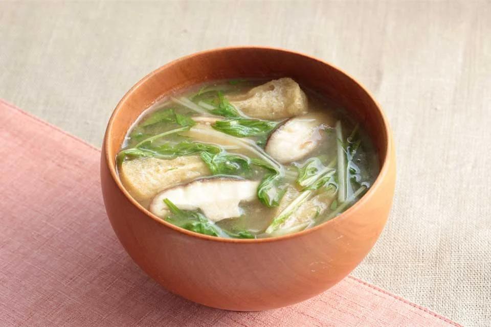 滋賀の水菜とお揚げのおみそ汁