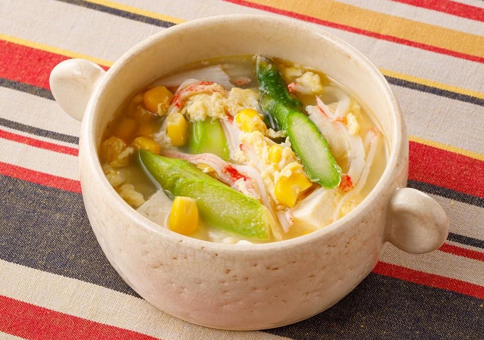 アスパラと豆腐の彩り中華スープ