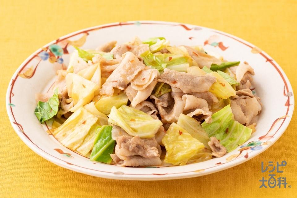 豚バラとキャベツのピリ辛レンジ重ね蒸し(豚バラ薄切り肉+キャベツを使ったレシピ)