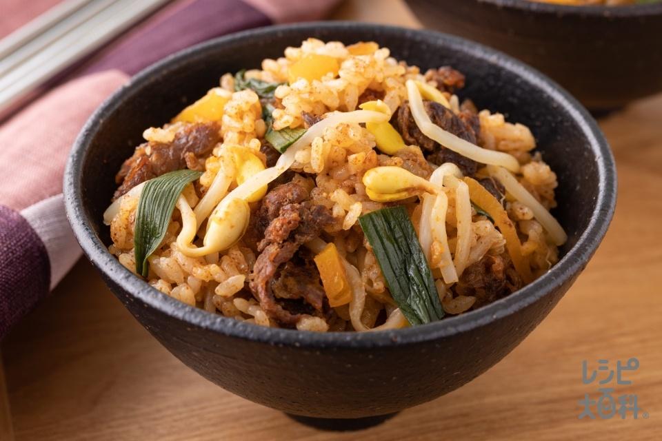 炊飯器でビビンバ風炊き込みご飯(米+牛切り落とし肉を使ったレシピ)