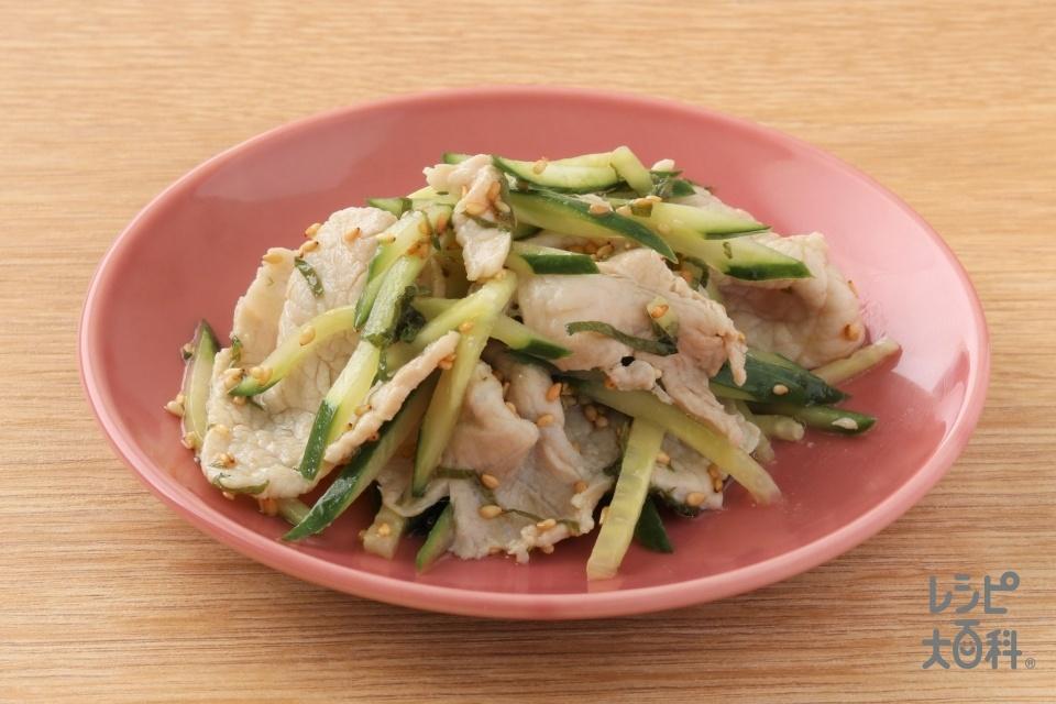豚しゃぶ肉のさっぱり和え(豚ロースしゃぶしゃぶ肉+きゅうりを使ったレシピ)