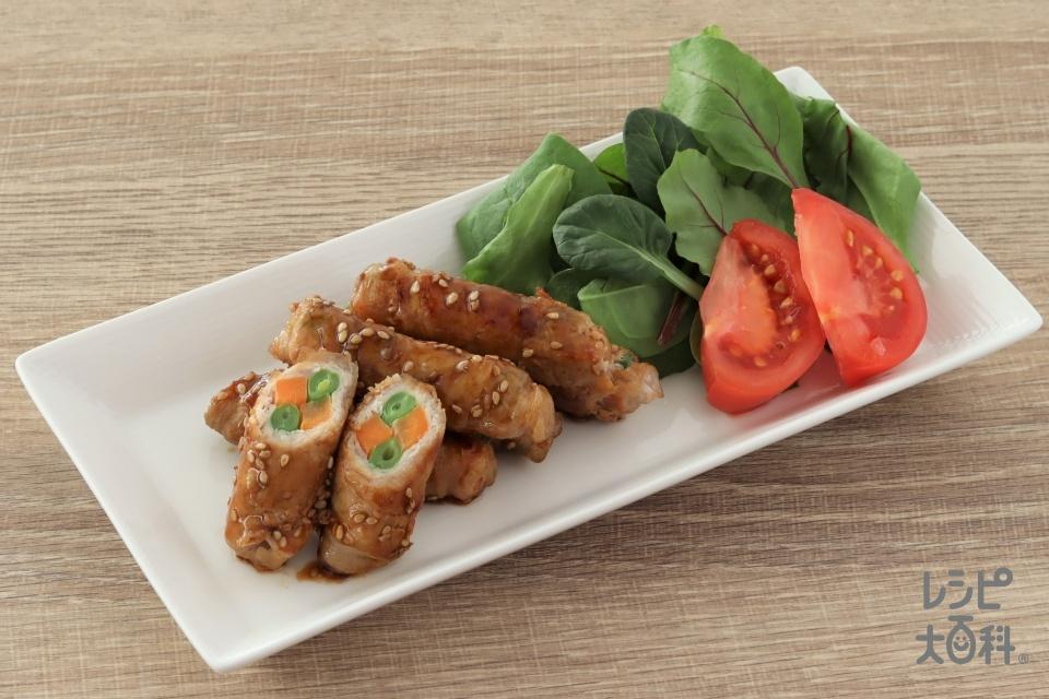 中華風いんげんとにんじんの豚巻き(豚ロース薄切り肉+にんじんを使ったレシピ)