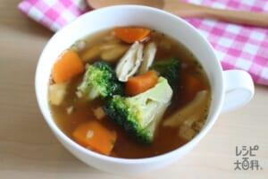 即席!サラダチキンとブロッコリーのスープ