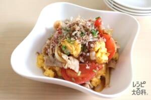 トマトと豚肉の和風ふわふわ卵炒め