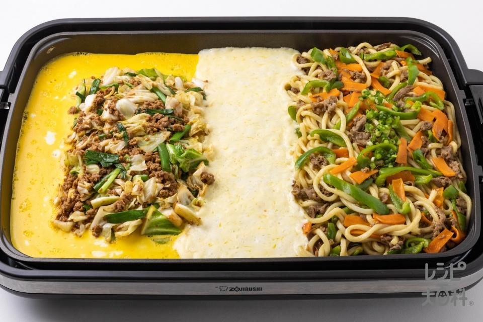 とろ~り卵の肉みそキャベツ × 和風カレー焼うどん(豚ひき肉+キャベツを使ったレシピ)