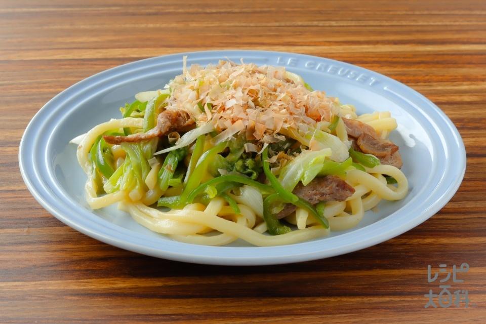 レンジde焼うどん風(冷凍うどん+豚こま切れ肉を使ったレシピ)