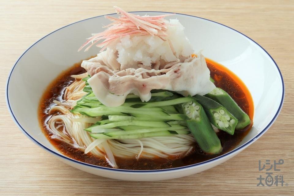 ピリ辛そうめんアジアン風(そうめん+豚ロースしゃぶしゃぶ肉を使ったレシピ)