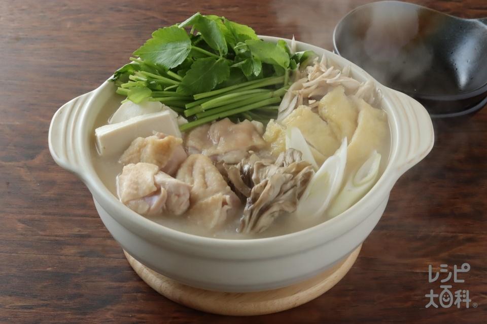 簡単!せり鍋(鶏もも肉+絹ごし豆腐を使ったレシピ)